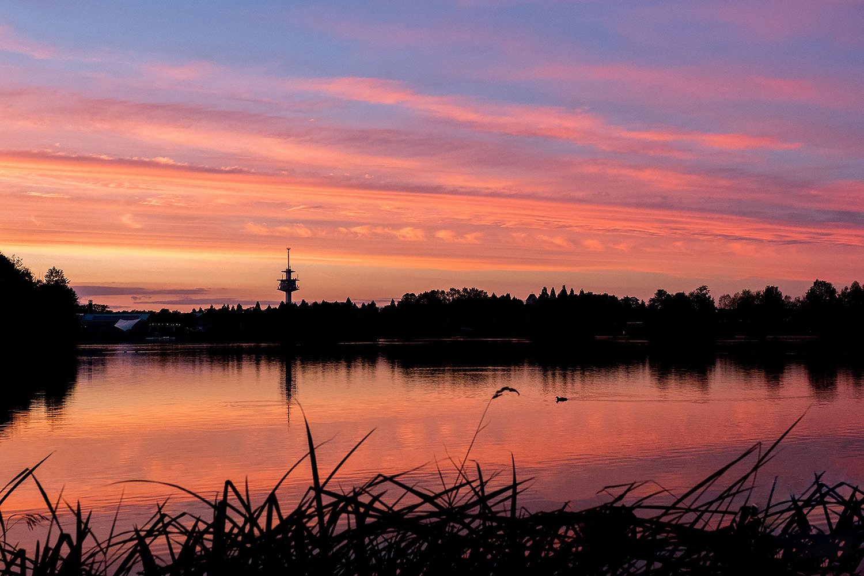 Ansichtstkarte Abenddämmerung am Flückiger See/Seepark Motiv