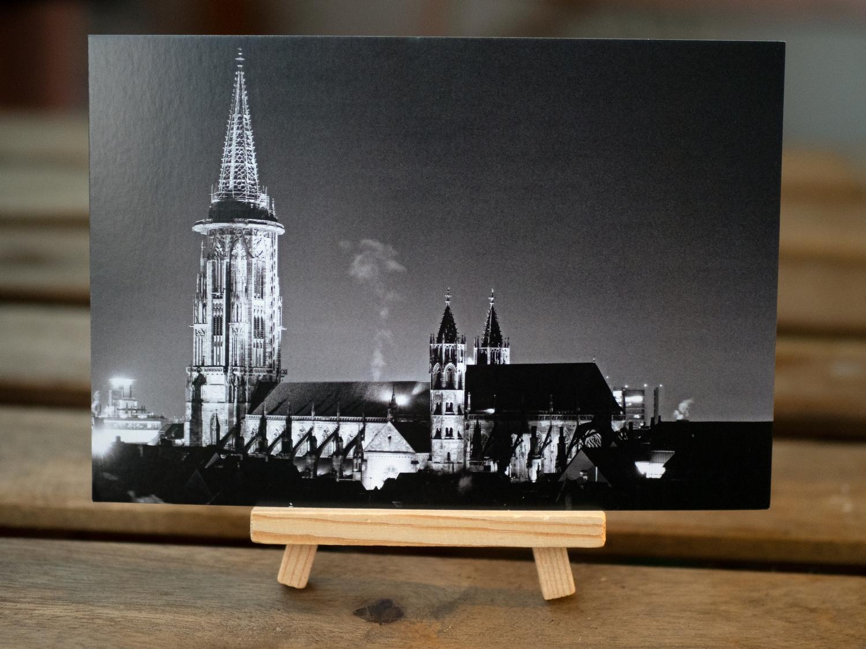 Ansichtskarte  Freiburger Münster bei Nacht Motiv